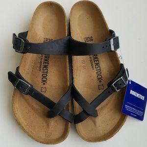 Birkenstock Mayari Black Oiled Leather Sandals 38